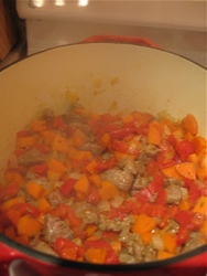 Diced onion, carrots, and lamb