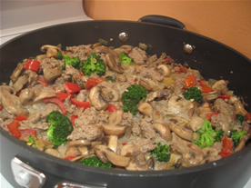 Broccoli , mushrooms, and peppers